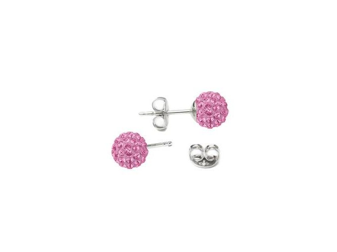 stribrne nausnice 6mm kulicky crystals from swarovskir pink 098899 pd