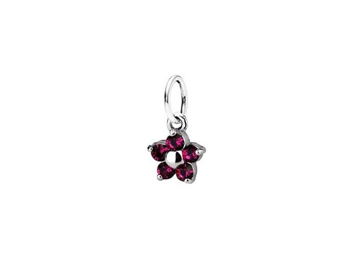 Dětský stříbrný přívěsek Swarovski® elements - tmavě růžová kytička 5 mm