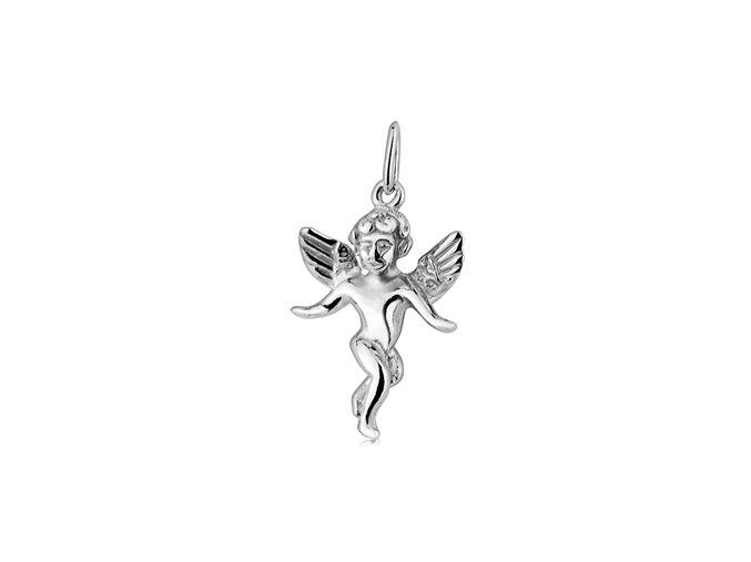 Dětský stříbrný přívěsek - andělíček 12x16 mm