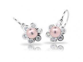 Dětské náušnice Cutie C2489-AG Rosaline - stříbrné s růžovou perlou