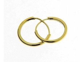 Dětské náušnice - kroužky ze žlutého zlata hladké 12 mm