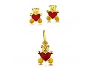 Dětská souprava - zlaté náušnice a přívěsek - medvídci se srdíčkem