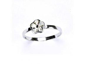Stříbrný dětský prsten - kytička čirá
