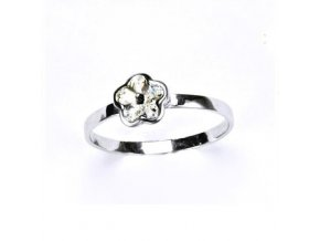 Stříbrný dětský prsten s krystalem Swarovski - kytička čirá
