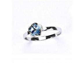 Stříbrný dětský prsten s krystalem Swarovski - kytička modrá