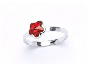 Stříbrný dětský prsten - kytička červená