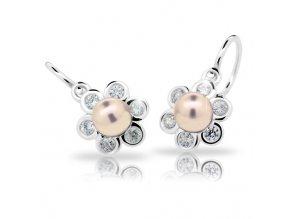 Dětské náušnice Cutie C2489-Ag Peach - stříbrné s perlou