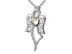 Stříbrný náhrdelník - andílek se zirkony