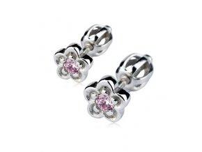 Stříbrné náušnice šroubovací - kytičky s růžovým zirkonem 6 mm