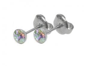 Ocelové náušnice s duhovými krystaly Swarovski 3,5 mm