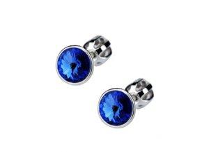 Stříbrné dětské náušnice s krystaly Swarovski - tmavě modré kolečko