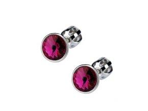 Stříbrné dětské náušnice s krystaly Swarovski - tmavě růžové kolečko