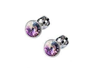 Dětské stříbrné náušnice s krystaly Swarovski - duhově fialové kolečko