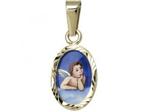 Zlatý dětský přívěsek - ochranný andílek modrý v rytém rámečku