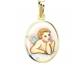 Zlatý dětský přívěsek - ochranný andílek