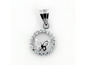 Zlatý dětský přívěsek - motýlek v kolečku se zirkony