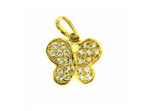 Zlatý dětský přívěsek - motýlek se zirkony
