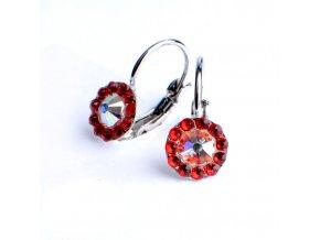 Dívčí náušnice Swarovski – kytičky červené