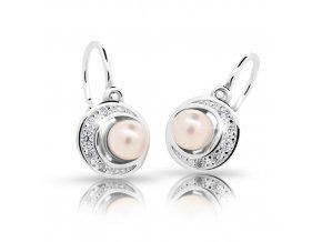 Dětské naušnice Cutie C2256-Ag Peach - stříbrné s perlou