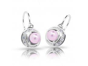 Dětské naušnice Cutie C2256-Ag Rosaline - stříbrné s růžovou perlou