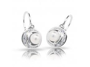 Dětské naušnice Cutie C2256-Ag White - stříbrné s bílou perlou