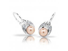 Dětské náušnice Cutie C2254-AG Peach - stříbrné s perlou