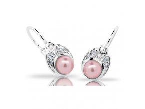Dětské náušnice Cutie C2254-Ag Rosaline - stříbrné s růžovou perlou
