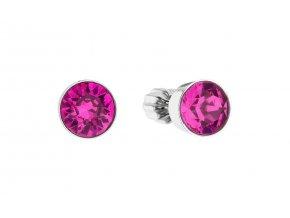 Stříbrné náušnice - kolečka s tmavě růžovými krystaly Swarovski