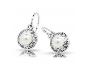 Dětské náušnice Cutie C2393-Ag White - stříbrné s bílou perlou