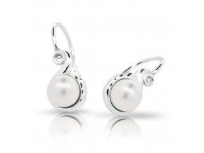Dětské náušnice Cutie C2408-Ag White - stříbrné s bílou perlou