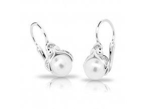 Dětské náušnice Cutie C2414-Ag White - stříbrné s bílou perlou