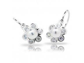 Dětské náušnice Cutie C2489-Ag White - stříbrné s bílou perlou