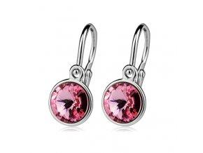 Dětské stříbrné náušnice s krystaly Swarovski - růžová 6 mm