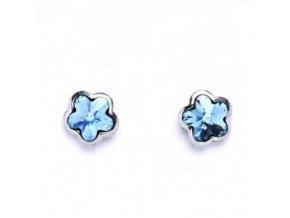 Stříbrné dětské náušnice s krystaly Swarovski - modrá kytička