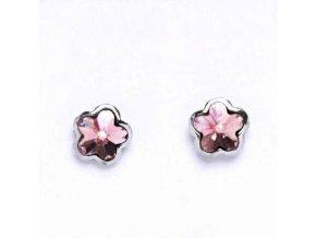 Stříbrné dětské náušnice s krystaly Swarovski - růžová kytička