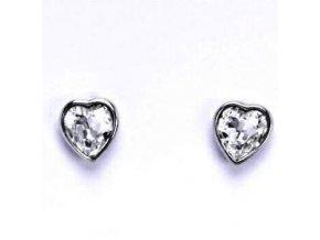 Stříbrné dětské náušnice s krystaly Swarovski - srdíčko čiré