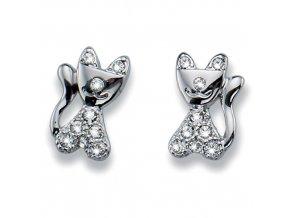 Dětské náušnice s krystaly Swarovski - kočičky