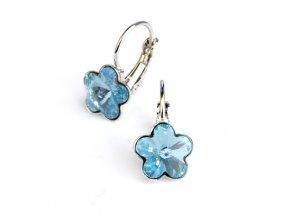 Dívčí náušnice s modrými krystaly Swarovski - kytičky 10 mm