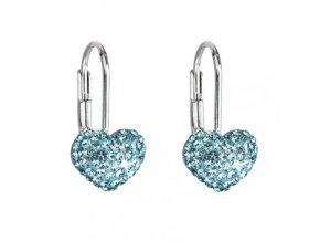 Dívčí stříbrné náušnice SWAROVSKI® elements - srdíčka modrá