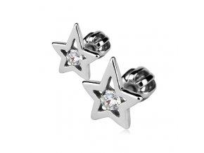 Stříbrné náušnice šroubovací - hvězdy 8x9 mm