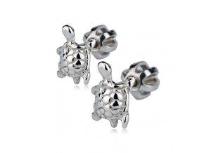 Dětské stříbrné náušnice šroubovací - želvičky 8x5,5 mm