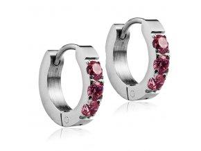 Ocelové kroužky s růžovými zirkony 13x3 mm