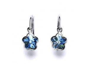 Dětské stříbrné náušnice s krystalem Swarovski - kytička modrá
