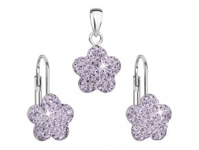 Dívčí stříbrná souprava - kytičky s fialovými krystaly Swarovski