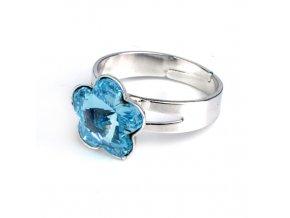 Dětský prsten Swarovski Elements - kytička modrá 10 mm