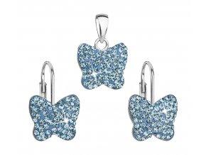 Dívčí stříbrná souprava - motýlci s modrými krystaly Swarovski