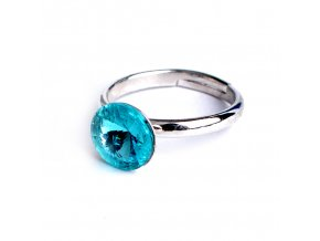 Dětský prsten Swarovski® crystals Rivoli - tyrkysově modrý 8 mm