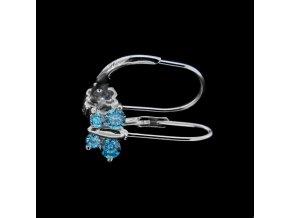 Dětské stříbrné náušnice motýlci se zirkony - modrá 7,5x5 mm