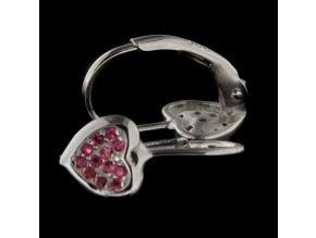 Dětské stříbrné náušnice - srdíčka s růžovými zirkony 7x6 mm
