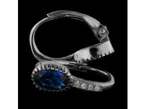 Dětské stříbrné náušnice se zirkony - modrá 5x7 mm